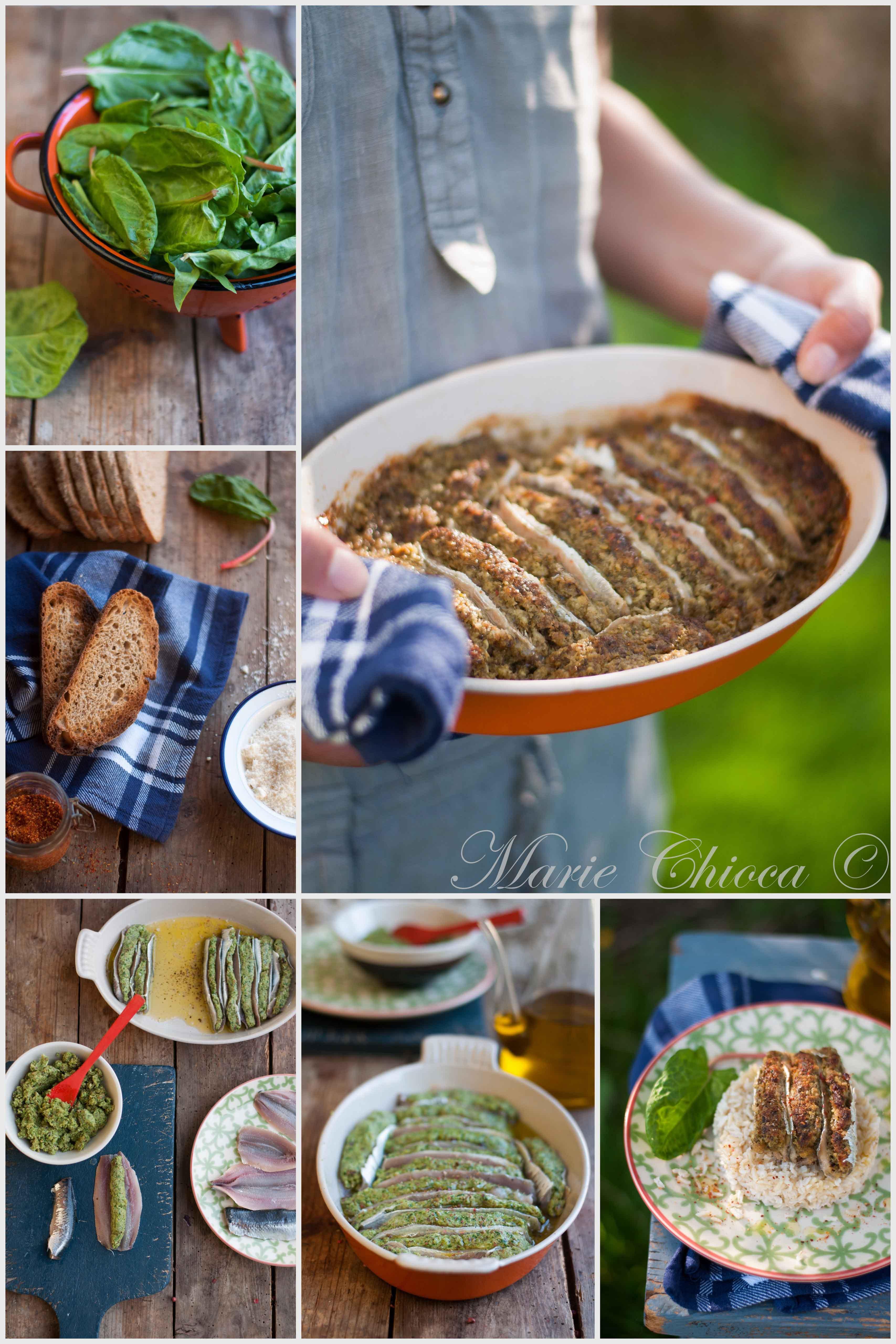 Sardines farcies au pain grillé, oseille et parmesan